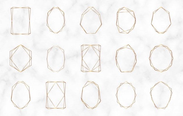 Gold geometric polygonal frames. luxury design elements