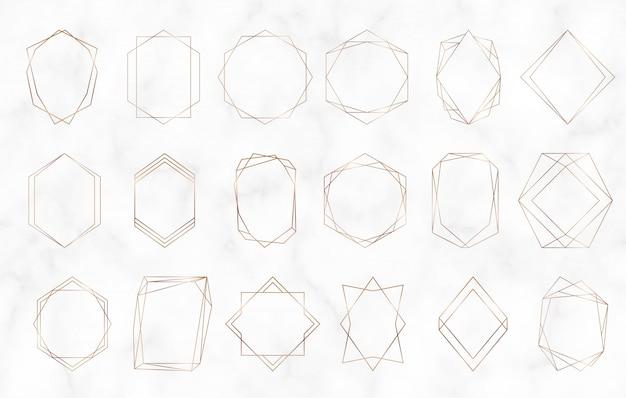 Gold geometric polygonal frames.