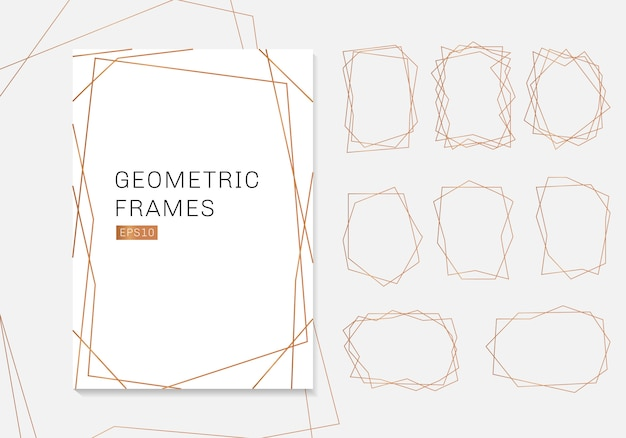 Gold geometric polyhedron frames collection luxury templates