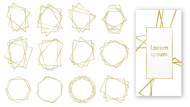 Gold geometric wedding invitation, set of luxury frames.