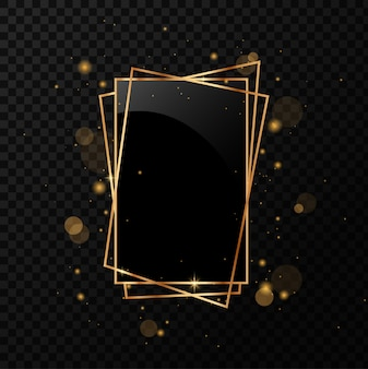 Золотой геометрический многогранник с черным зеркалом. изолированные на черном прозрачном фоне.