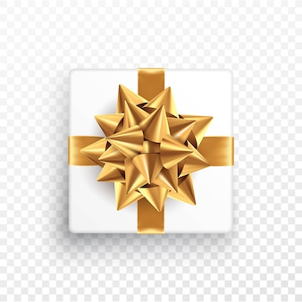 Gold gift bow on a transparent background.