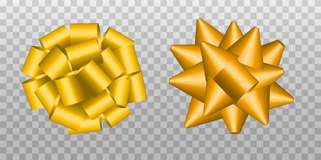 Золотые подарочные бантики, изолированные на прозрачном фоне. золотые ленты, украшение для упаковки коробок.