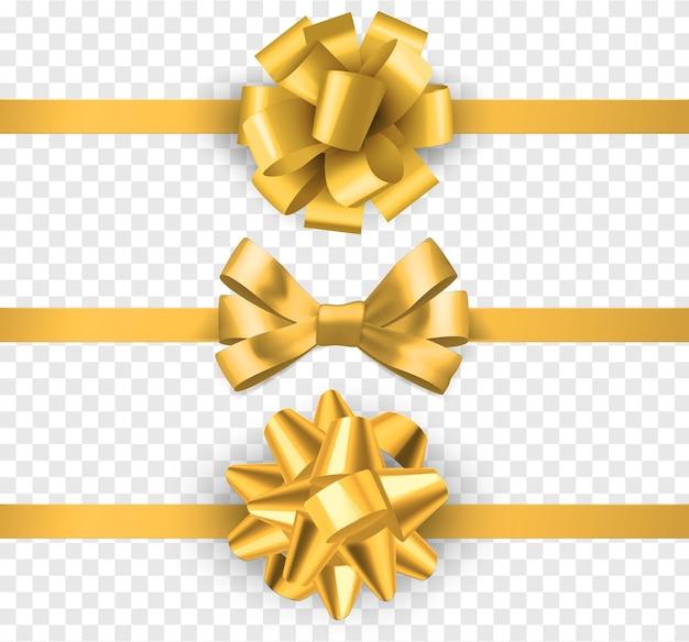 リボン付きゴールドギフトリボン。装飾的な弓、お祝いの要素の装飾、透明な背景に分離されたギフトサテンの豪華なテープベクトルセットと現実的な水平シルクイエローリボン