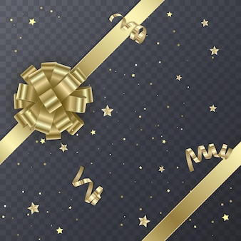 Gold gift ribbon with realistic bow. gift element for card design. holiday background,
