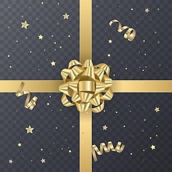 リアルなリボンが付いたゴールドギフトリボン。カードデザインのギフト要素。休日の背景、