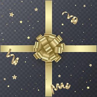 Золотая подарочная лента с реалистичным бантом. подарочный элемент для дизайна карты. праздничный фон,
