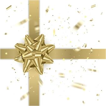 Золотая подарочная лента с реалистичным бантом. подарочный элемент иллюстрации