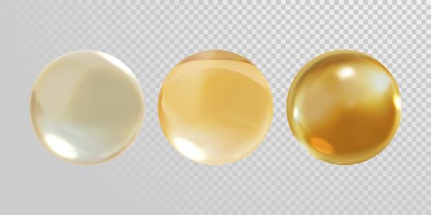 透明に分離された金のガラス玉
