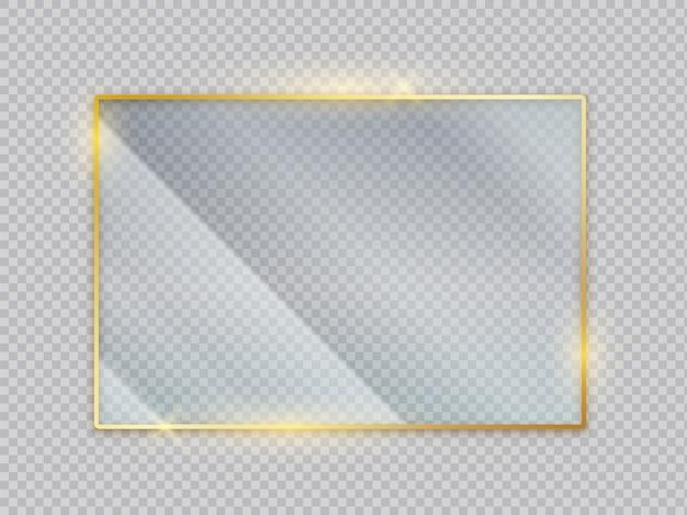 골드 유리 투명 배너입니다. 눈부심 반사 효과가 있는 골든 프레임. 크리스탈 디스플레이가 있는 벡터 이미지 정사각형 아크릴 격리 화면 전면 보기