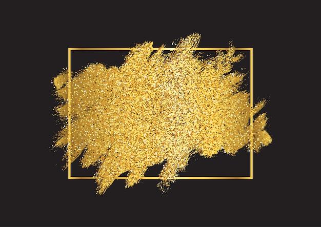 金属のゴールデンフレームとゴールドのキラキラ背景