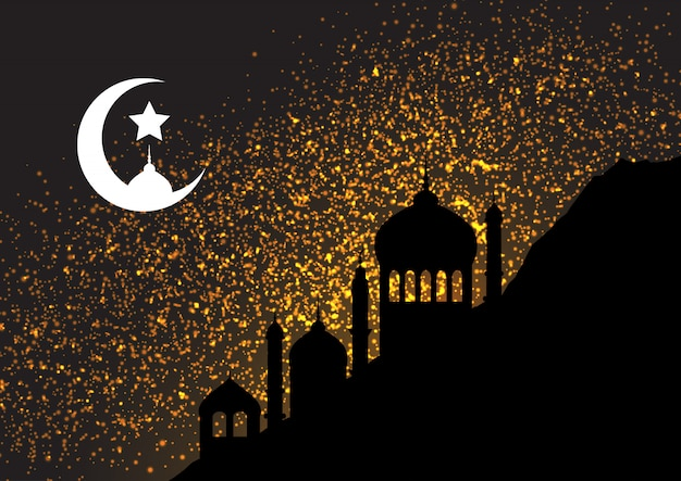 Gold glitter background with mosque silhouettes