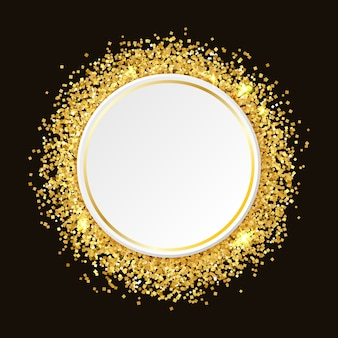 Gold glitter background with space for text, . template for night club promo, glamour.  gold glitter frame