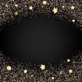 Gold glitter background with stars