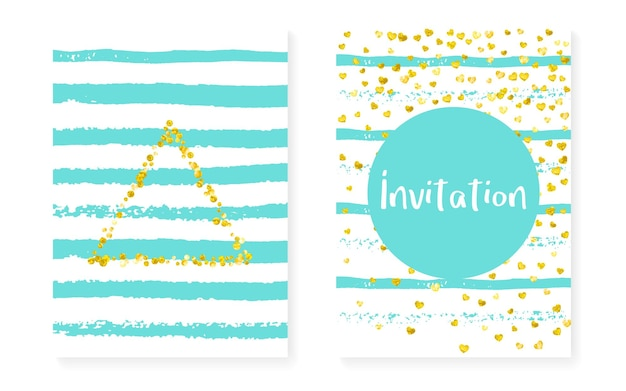 Карты с золотым блеском с точками, пайетками. приглашение на свадьбу и свадебный душ с конфетти. вертикальный фон полосы мяты. креативные золотые блестящие карты для вечеринки, мероприятия, флаера с датой