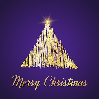 Gold glitter christmas tree in sketch style on purple background. happy new year card design. vector illustration.