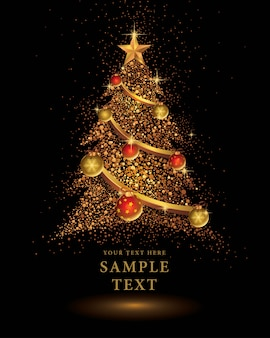 Gold glitter christmas tree vector on black background