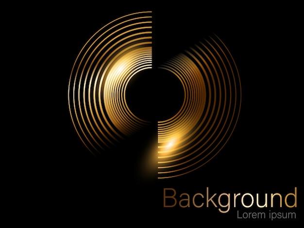 Золотой глиттер, круг кисти, отдельный на черном фоне золотой Premium векторы
