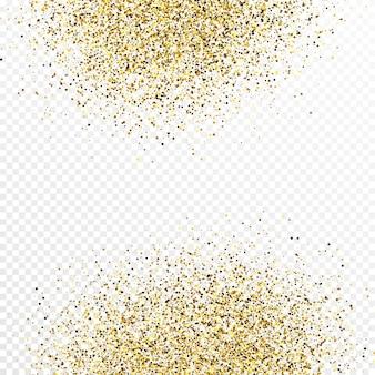 白の透明な背景に分離されたゴールドのキラキラ紙吹雪の背景。輝く光の効果を持つお祝いの質感。ベクトルイラスト。