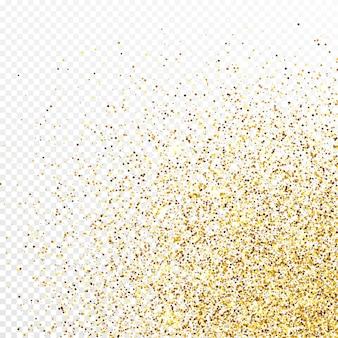 Золотой блеск конфетти фон, изолированные на белом прозрачном фоне. праздничная текстура с ярким световым эффектом. векторная иллюстрация.