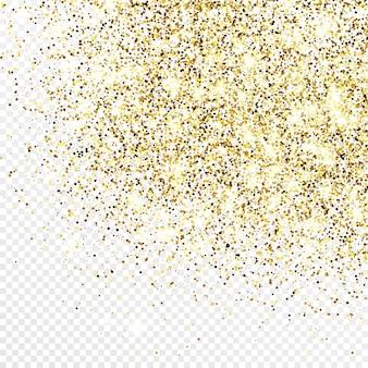 Золотой блеск конфетти фон, изолированные на белом прозрачном фоне. праздничная текстура с ярким световым эффектом. векторная иллюстрация. Premium векторы