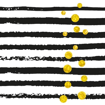 검은 줄무늬에 점이 있는 금색 반짝이 색종이 조각. 쉬머와 반짝임으로 빛나는 떨어지는 스팽글. 인사말 카드, 신부 샤워 및 날짜 초대 저장을 위한 금색 반짝이 색종이가 있는 템플릿.