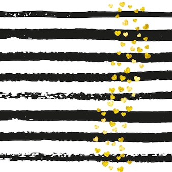 Gold glitter confetti with hearts on black stripes. random falling sequins with metallic shimmer. design with gold glitter confetti