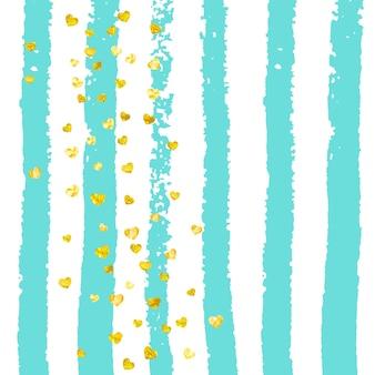 ターコイズのストライプにハートのゴールドのキラキラ紙吹雪。金属のきらめきと落ちるスパンコール。パーティーの招待状、バナー、グリーティングカード、ブライダルシャワー用のゴールドのキラキラ紙吹雪でデザインします。
