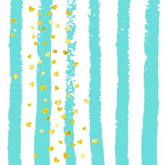 Gold glitter confetti with hearts on turquoise stripes. falling sequins with metallic shimmer. design with gold glitter confetti for party invitation, banner, greeting card, bridal shower.