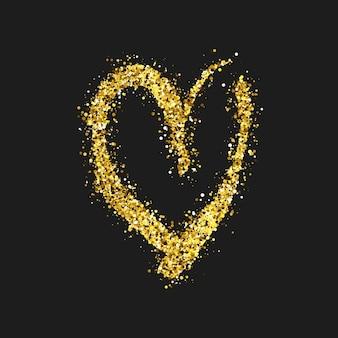 暗い背景にゴールドのキラキラ落書きハート。ゴールドグランジ手描きハート。ロマンチックな愛のシンボル。ベクトルイラスト。