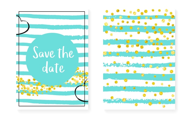 Gold glitter dots with sequins. wedding and bridal shower invitation cards set with confetti. vertical stripes background. vintage gold glitter dots for party, event, save the date flyer.