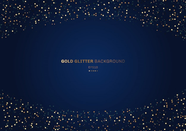 Gold glitter festive blue background