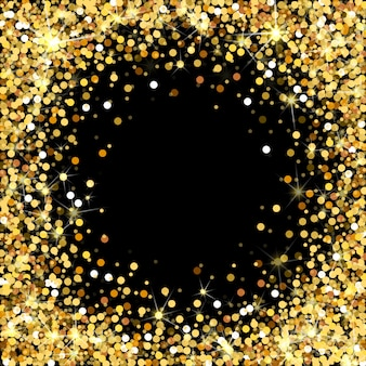 Рамка золотой блеск на черном фоне