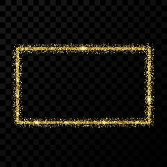 ゴールドのキラキラフレーム。暗い透明な背景に光沢のある星と輝きのある長方形の垂直フレーム。ベクトルイラスト