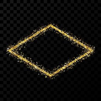 Рамка с золотым блеском. рамка ромб с блестящими блестками на темном прозрачном фоне. векторная иллюстрация