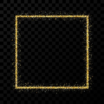 Gold glitter frame. square frame with shiny sparkles on dark transparent background. vector illustration