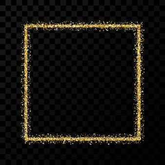 ゴールドのキラキラフレーム。暗い透明な背景に光沢のある輝きのある正方形のフレーム。ベクトルイラスト