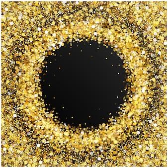 テキストのための空のスペースが散在する金色の紙吹雪金色の丸いドット明るいすねのある金色のキラキラフレーム...