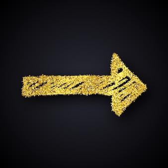 ゴールドラメ手描き矢印。暗い背景にゴールドのキラキラ効果のある落書き矢印。ベクトルイラスト