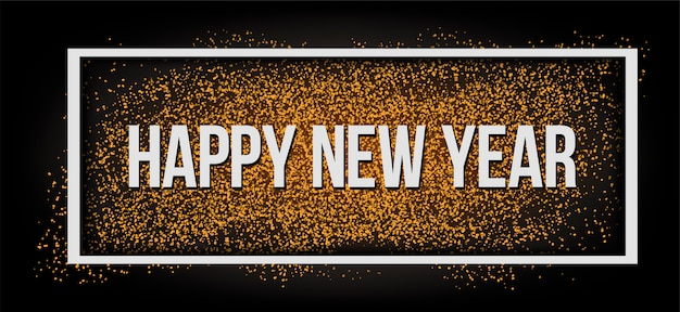 Gold glitter happy new year 2019