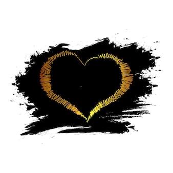 黒のしみ、透明な背景にゴールドのキラキラハート。バレンタインデー、結婚式、愛のグリーティングカードのバナー。