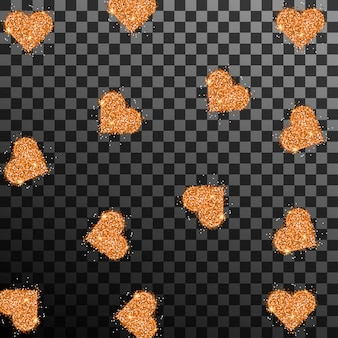 Gold glitter hearts on transparent background vector