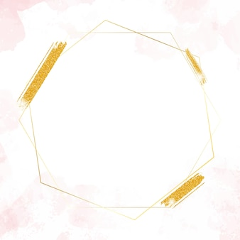 Gold glitter hexagon frame on watercolor splash