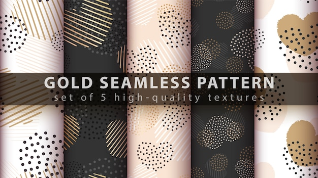 Gold, glitter love - seamless pattern
