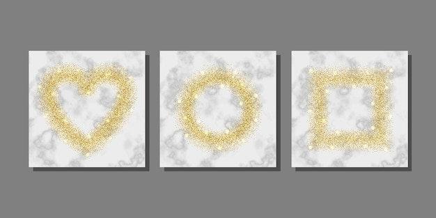 Gold glitter on marble background templates set for greeting and birthday card