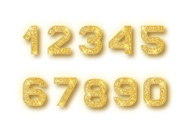 Gold glitter numbers set with shadow