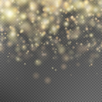 Gold glitter particles effect.