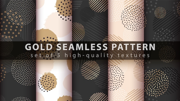 Gold, glitter, set seamless pattern