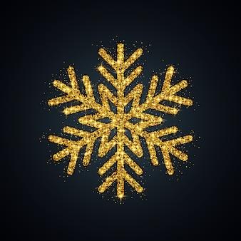 Gold glitter snowflake christmas new year symbol  illustration