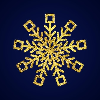 Gold glitter snowflake on dark blue background. christmas and new year decoration elements. vector illustration.